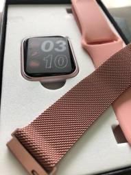 Relógio Smartwatch Medidor de Batimentos, Controle de Música, Android/IOS-(Lojas Wiki)