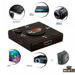 Switch HDMI Lelong 3 Entradas Com Botão Seletor de Canal de Saída