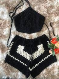 Conjunto de crochê moda praia a pronta entrega