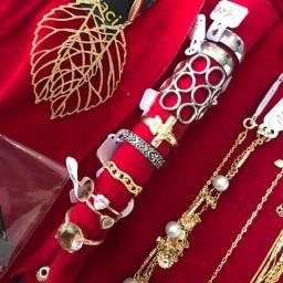 Kit de jóias brincos pulseira anéis argolas