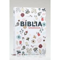 Bíblia capa Branca, flores Letra Grande NTLH ou NAA