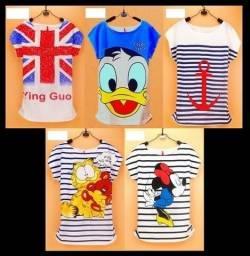 Camisetas Femininas animadas estampadas, tamanho único Minnie, Pato Donald, London, Âncora