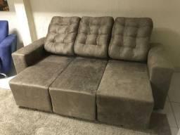 Estofado Sofá 3 lugares. Com assentos retráteis e encosto reclinável. Entre em contato