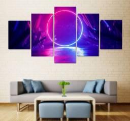 Quadro Mosaico 130x60 05 Peças Abstrato Neon