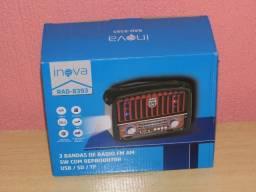 Lindo radio Retrô Inova am/fm 110/220v usb/sd luzes som fantastico novo na caixa
