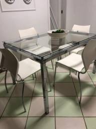 Título do anúncio: Mesa de Vidro e Aluminio c/4 Cadeiras