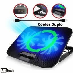 Título do anúncio: Suporte Base Notebook Com Ventilação Apoio Mesa 2 Coolers Led