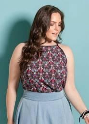 Blusa Estampada Alongada Decote V nas Costas Plus Size Tam 58 (NOVA)