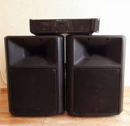 Kit amplificador + 2 caixas de som