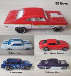 Lote Hot Wheels com 5 miniaturas Chevy 1:64