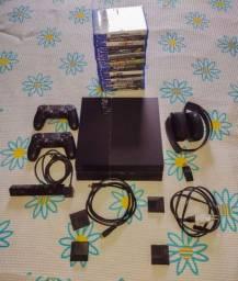 Título do anúncio: PS4 + 2 Controles + Fone + Câmera + 16 jogos