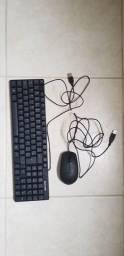 Teclado Multilaser pequeno e mouse Dell