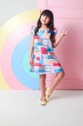 Vestido Infantil Trapézio Estampa Girl Power