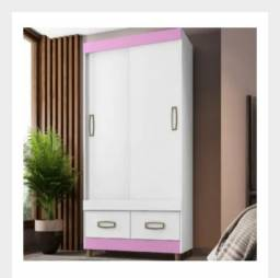 Título do anúncio: Guarda Roupa Detalhe Rosa 2Portas Na D Tudo Para Casa Móveis