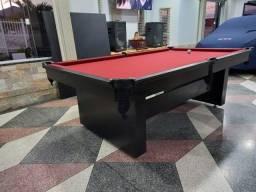Mesa de Bilhar Encanto Preta Tx Tecido Vermelho Modelo FNS6584