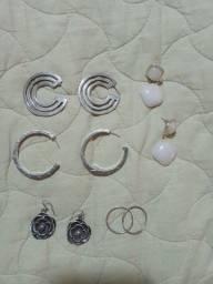 Brincos em prata grandes, todos em prata 925, com valor de desapego.