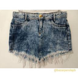 Saia Jeans com Detalhes Desfiados