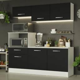 Cozinha Compacta Madesa Onix 180001 com Armário e Balcão Branco/Preto
