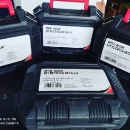 """Kit retífica pneumática Reta 1/4"""" maleta com acessórios."""