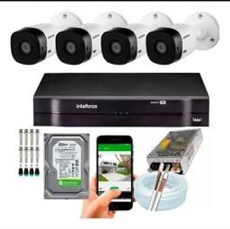 Kit c/ 4 câmeras intelbras/ instalado
