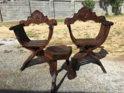 Jogos cadeiras + banco madeira maciça antiga