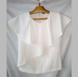 Blusa Branca Zara com babados