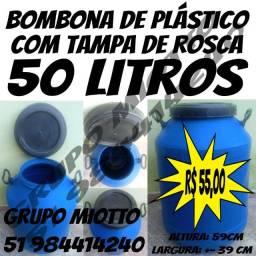 Bombona 50 Litros Tambor Galão Reservatório de plástico com Tampa de Rosca