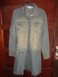 Casaco feminino Sobretudo em jeans Tamanho P