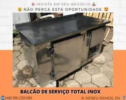 Balcão de serviço com refrigerador inferior - Total inox (Restaurante) | Matheus