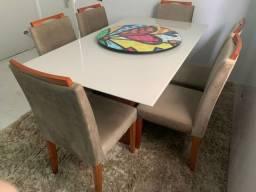 Título do anúncio: Torro mesa de jantar tampo de vidro laqueado