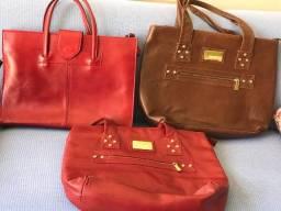 Título do anúncio: bolsas de couro - vermelha e marrom