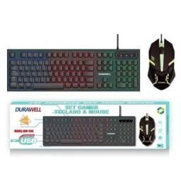 Título do anúncio: Kit Teclado Mouse Gamer Led Semi-mecânico ABNT2 USB Durawell - DW-300