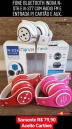 Fone de ouvido inova Bluetooth N-ST6 e N-ST7 com Radio FM e entrada para cartão e auxiliar