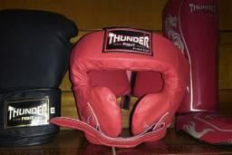 Kit Thunder Fight Training (Luva+Caneleira+Capacete)