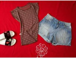 Jardineira, salopete, calça, short, blusa e salto