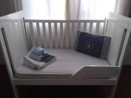 Berço MDF + 1 Colchão + 1 travesseiro + 4 lençol