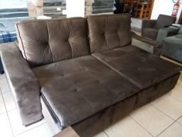 Sofa reto 2,50 retrátil e reclinável
