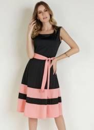 Vestido Bicolor Moda Evangélica com Laço - Rosalie
