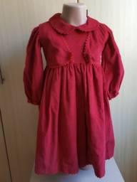 Vestido vermelho  veludo com colete removível