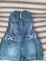 Macacão jeans tamanho G infantil