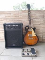 Kit Guitarra Shelter + Pedaleira + Amplificador