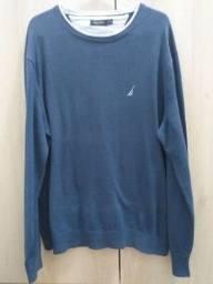Blusa de lã masculina original Nautica