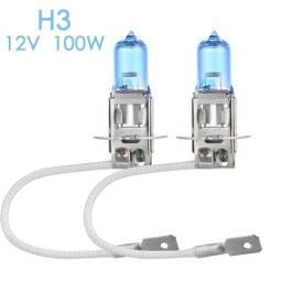 Título do anúncio: Lâmpada automotiva super branca, para faróis h3, lâmpada automotiva de halogênio 100w 12v