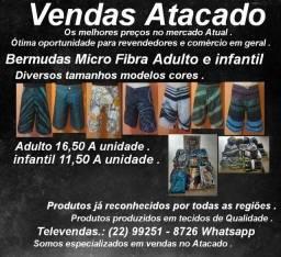 Bermudas micro fibra infantil adulto diversas cores e tamanhos promoção atacado