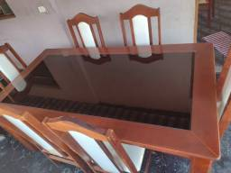 mesa de madeira maciça + 6 cadeiras + balcão *juntos ou separados<br>