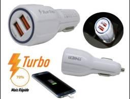 Carregador Veicular Lelong Turbo Power Duplo Celular Android iOS
