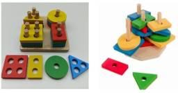 Brinquedo Pedagógico Madeira Torre De Forma Geometrica 16pc
