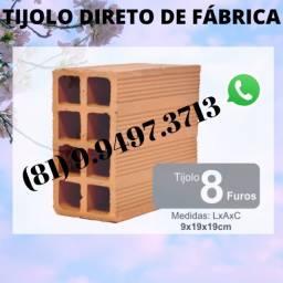 Tijolo 8 Furos Direto de Fábrica entregas de 3 a 8 Milheiros 419652245
