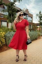 Vestido Midi Moda Evangélica Vermelho