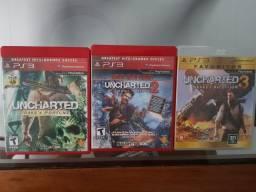 Uncharted (Trilogia) PS3 - Originais em mídia física - Produto usado